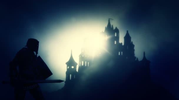 dunkler Ritter kommt auf eine dunkle gruselige Burg