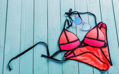 Set of beach clothes.