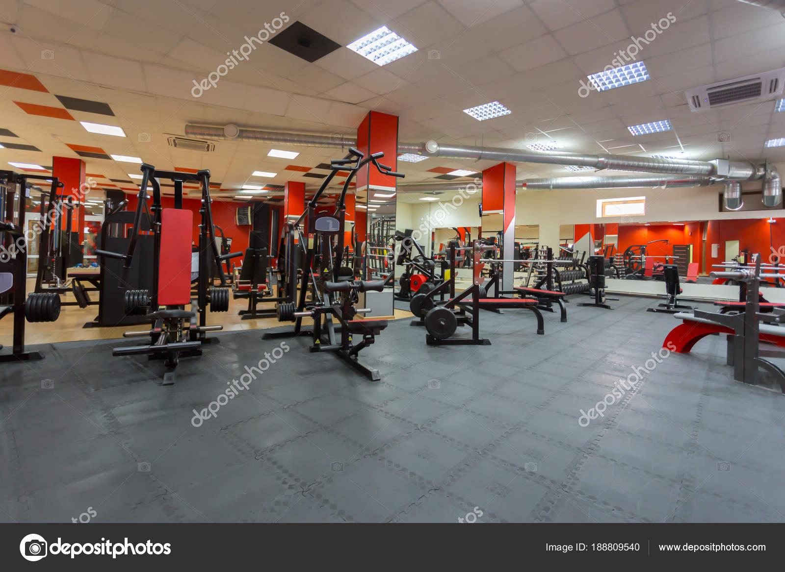 Equipements Dans Salle Gym Sport Moderne Photographie