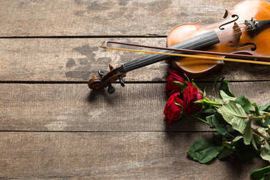 beautiful red roses and violin on wooden background