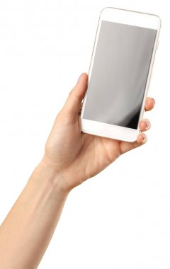 hand holding smartphone mobile isolated on white background