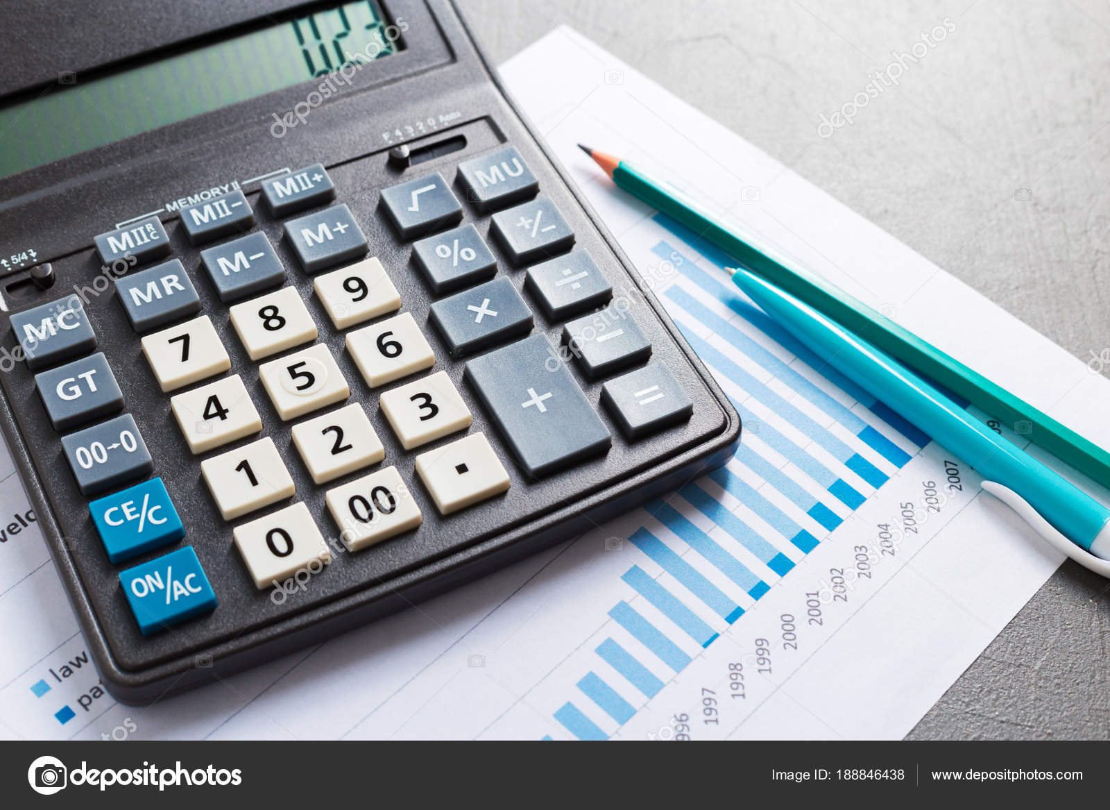 calculator business table checking accounting report concept stock