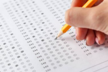 Close view of test score sheet with answers