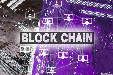 Lettering blockchain over bright background