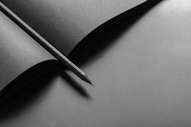 Mockup of blank book close up