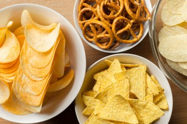 Salty snacks. Pretzels, chips, crackers.