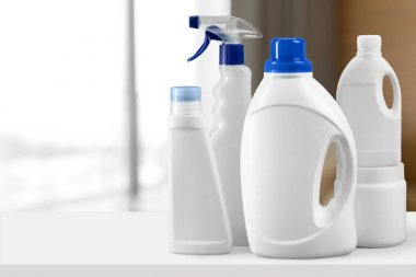 Cleaning products on table close up