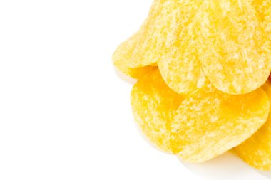 yellow potato chips isolated on white background