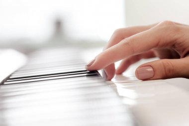 Closeup of hands playing piano. Music and hobby concept.