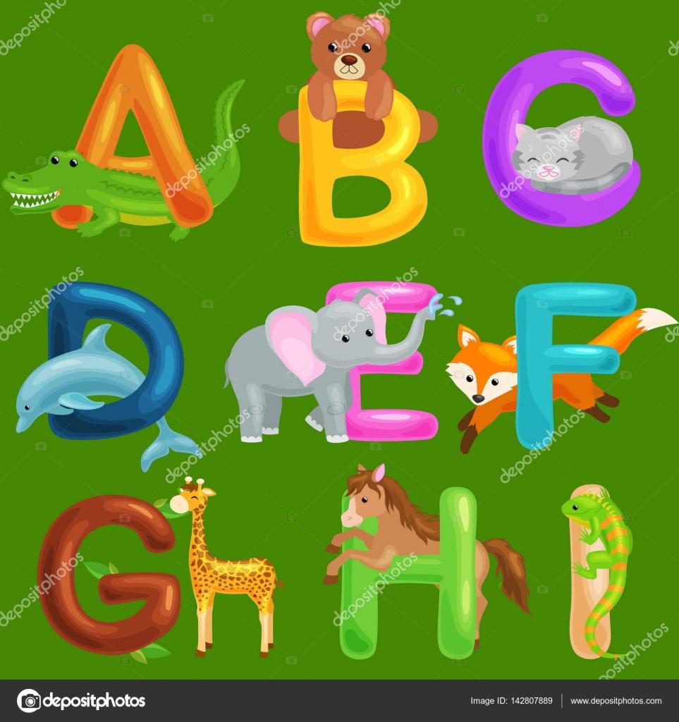Conjunto De Alfabeto De Animales Para Niños Pescado Letras Dibujos