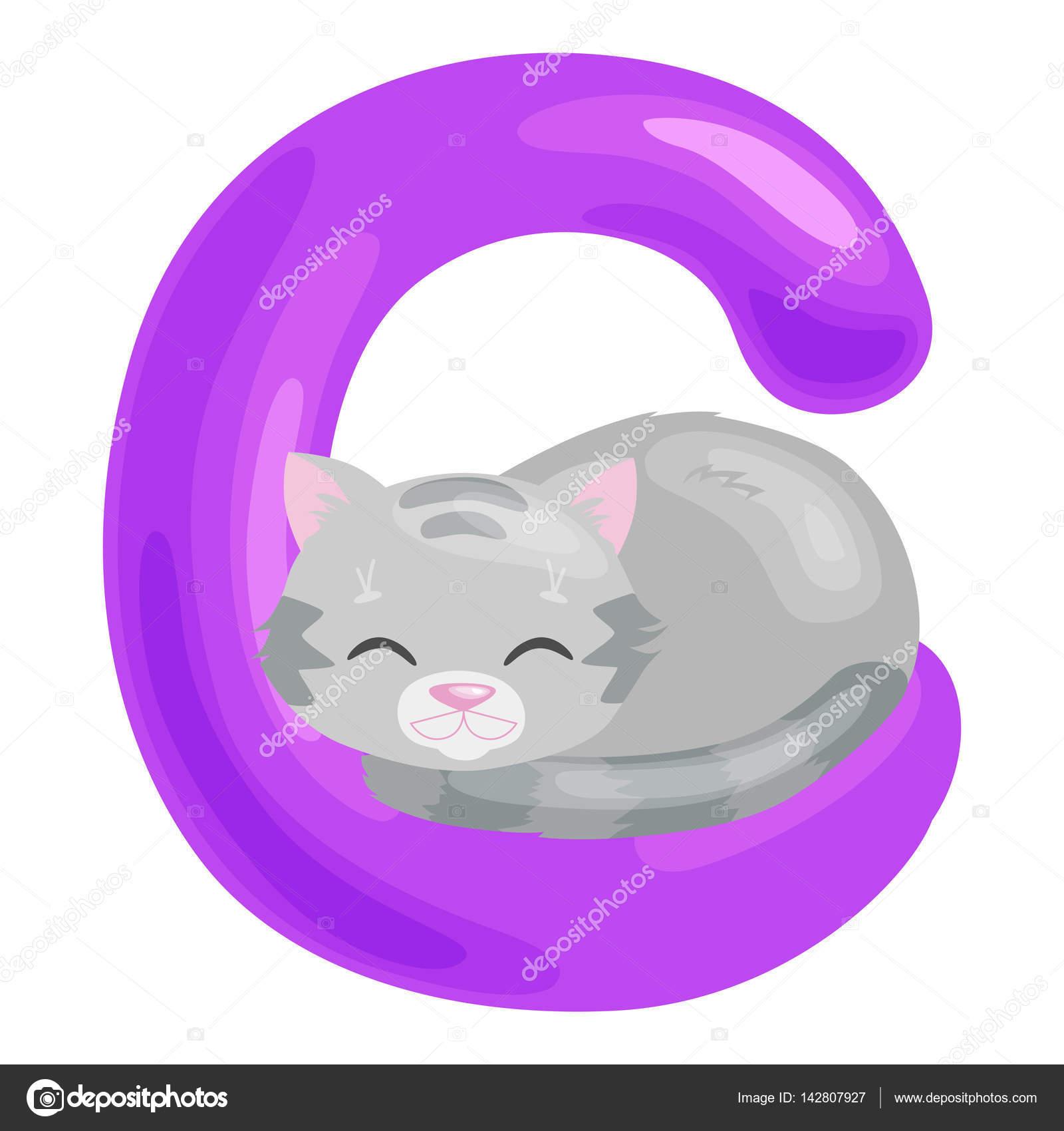 Letra de gato con animales para la educación de abc de los niños en ...