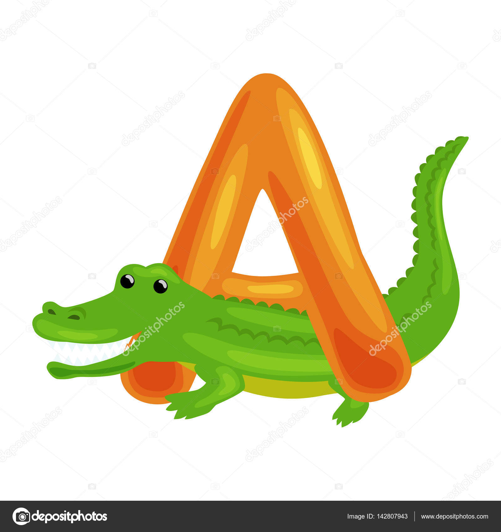 letter A with Aligator animal for kids abc education in preschool ...