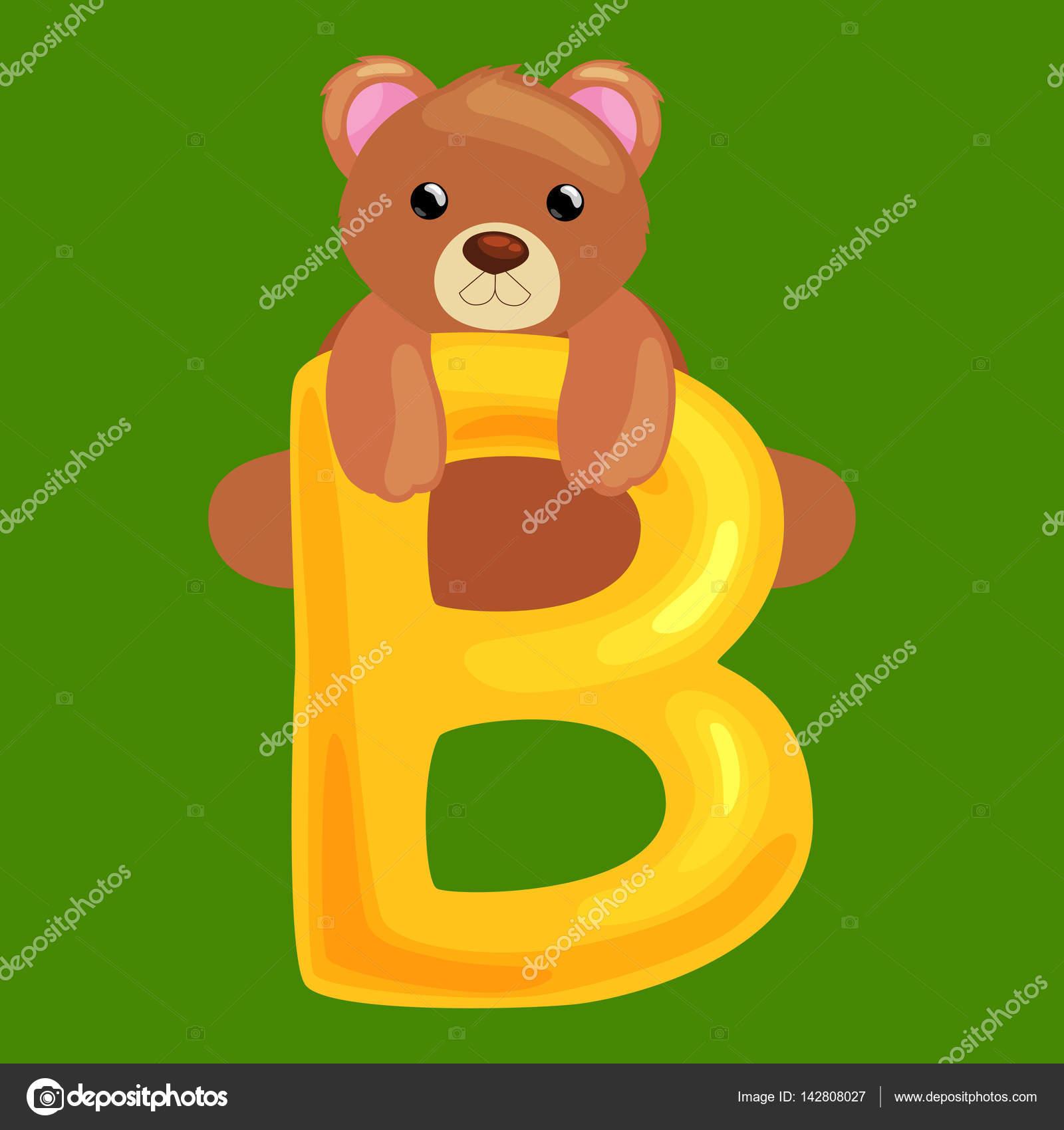 Letra de oso con animales para la educación de abc de los niños en ...