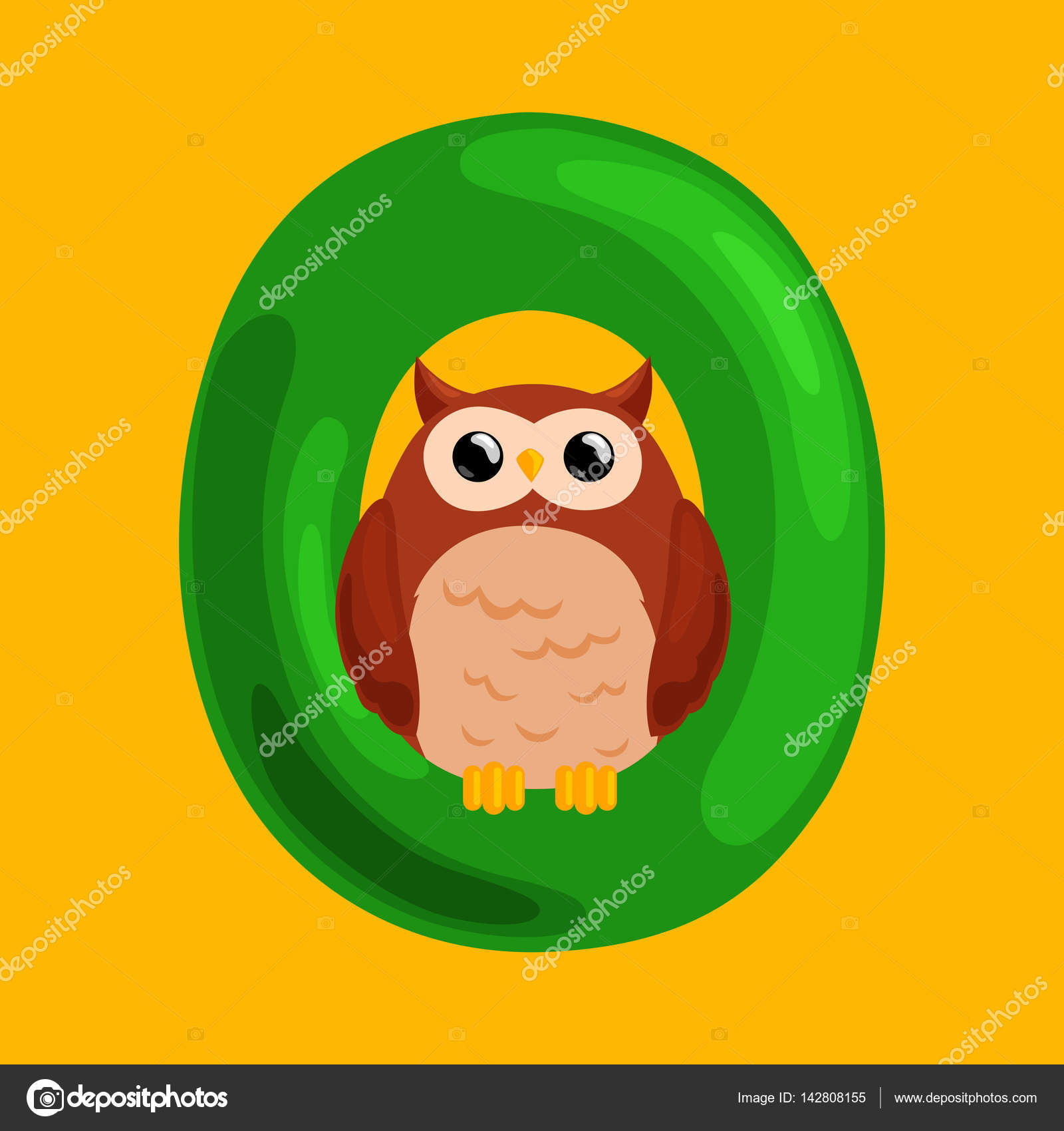 letter O with animal owl for kids abc education in preschool ...