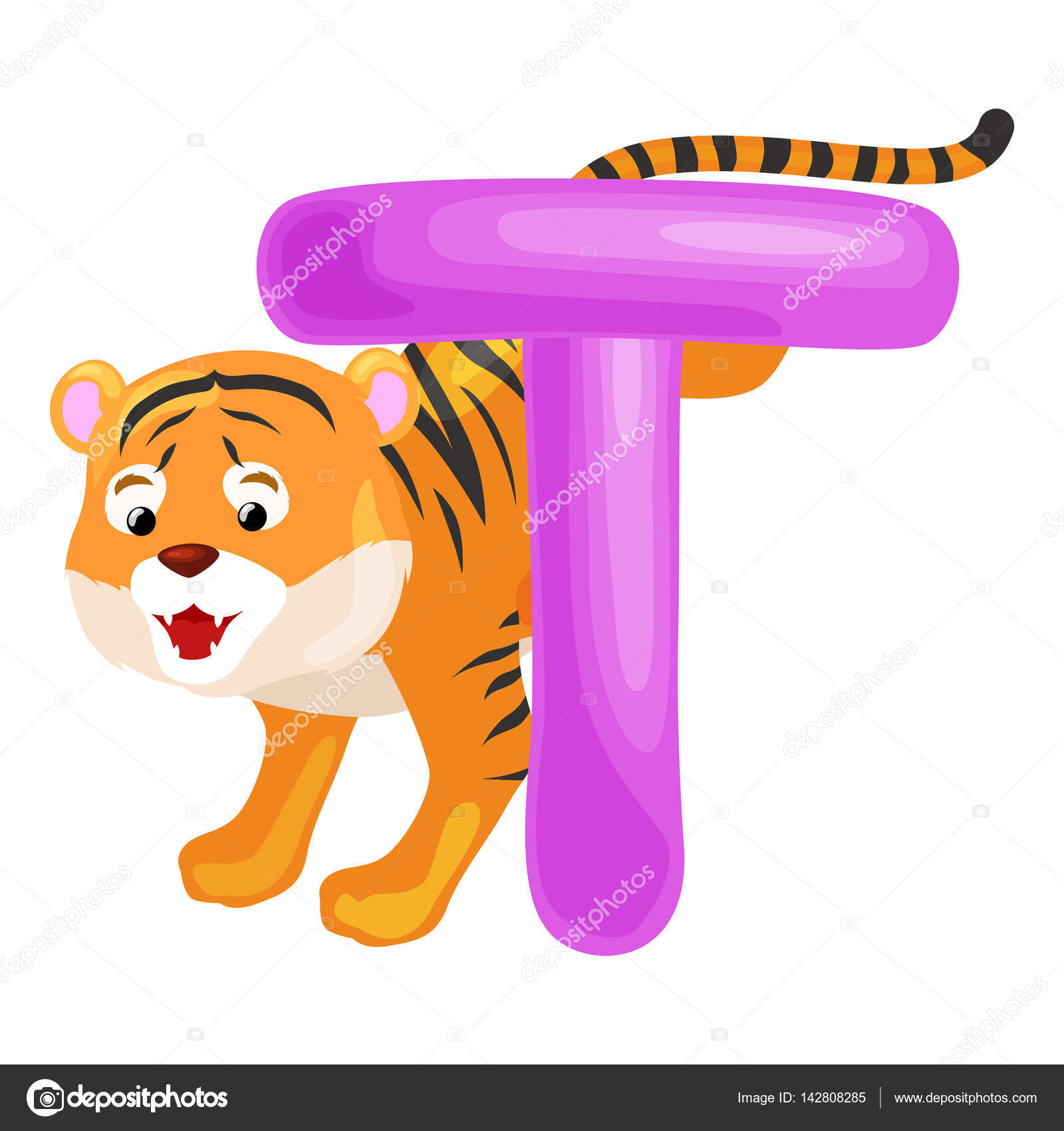 Tiger Animal And Letter T For Kids Abc Education In PreschoolCute Animals Letters English Alphabet Cartoon Learning Vector