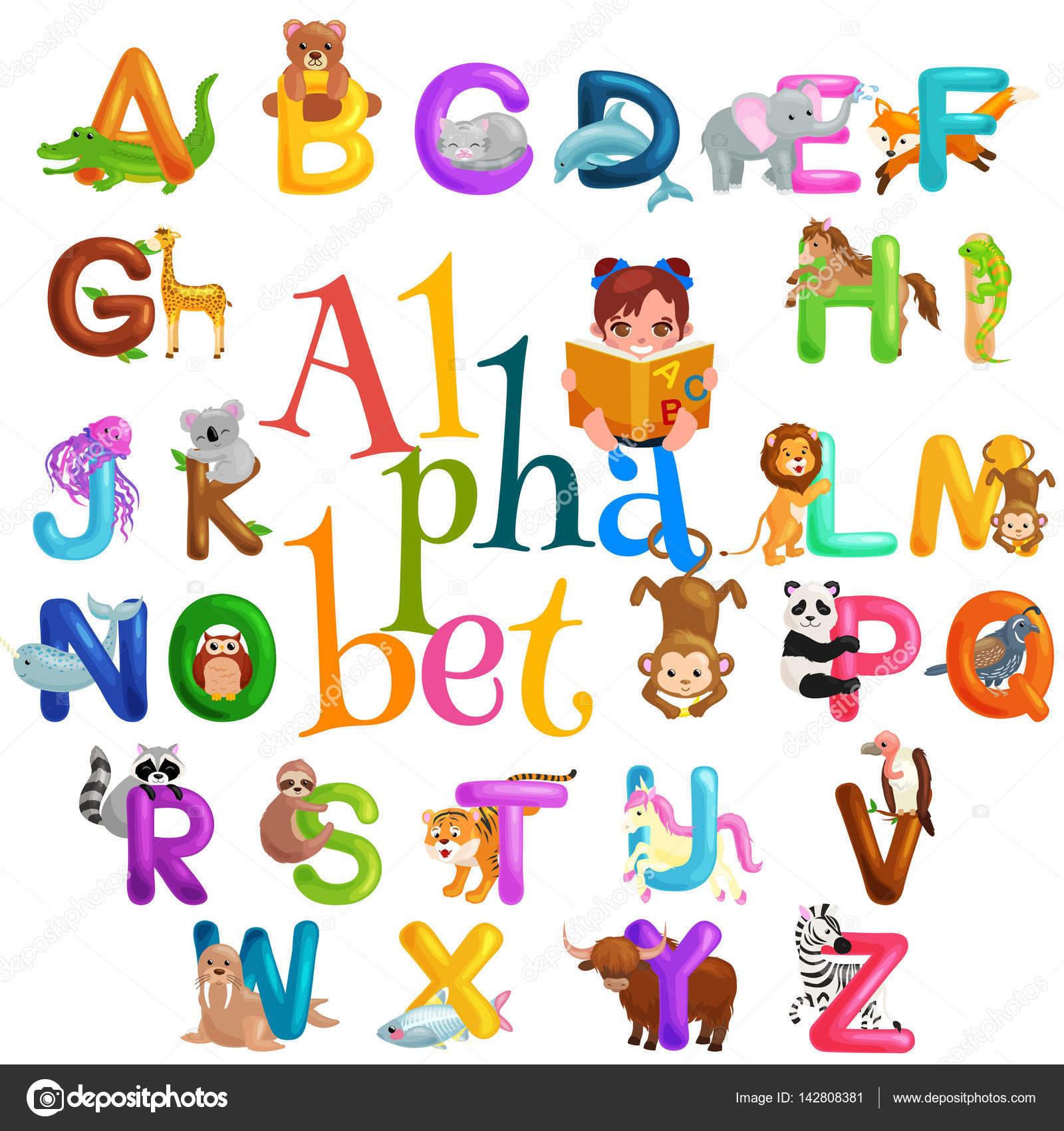 Alphabet animaux pour enfants abc l enseignement en cole maternelle image vectorielle - Image d ecole maternelle ...