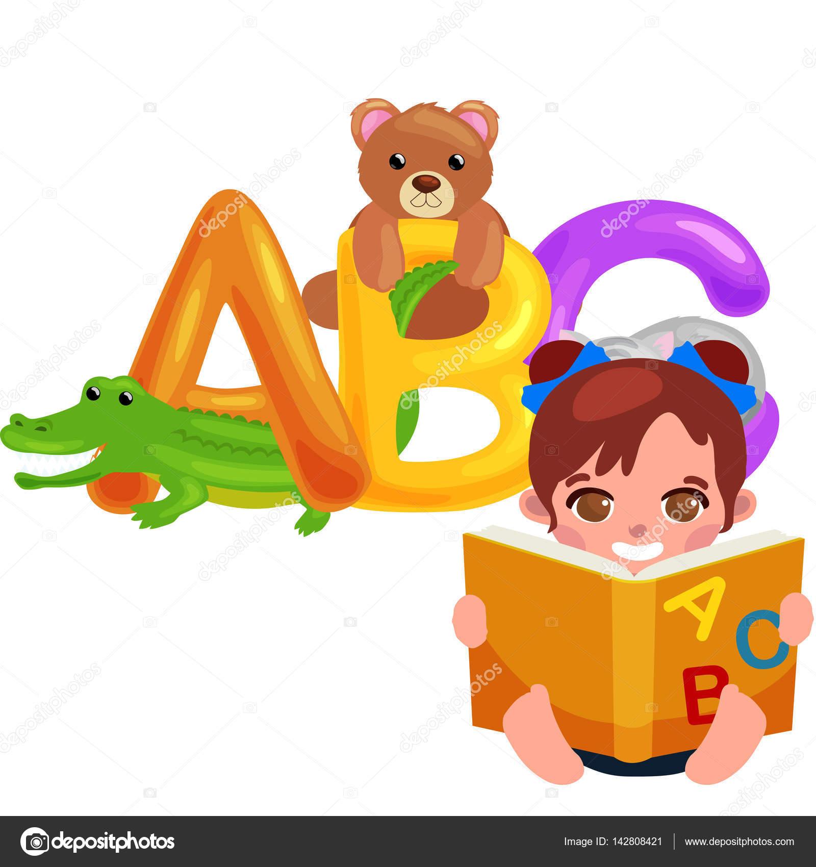 分離された学校や幼稚園の子供のアルファベット教育 abc 動物文字