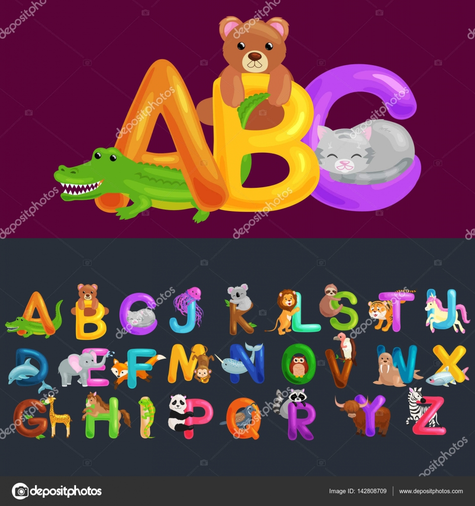 7a349ae3552e Letters ABC for children alphabet learning book. ABC concept with animal  toy for play in preschool reading — Vector by ...