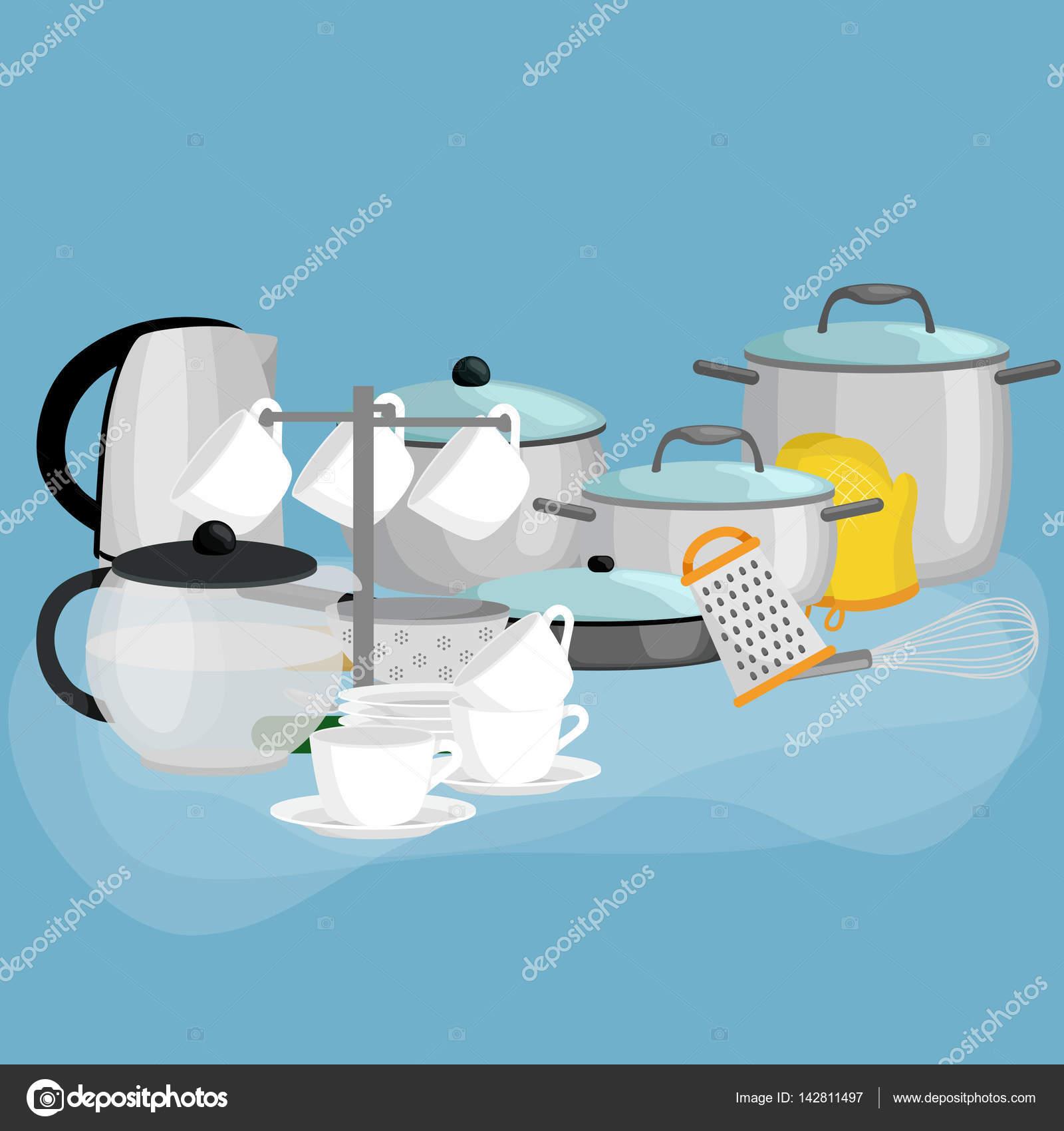 Cartoon kitchenware utensil collection.Steel kitchen household ...