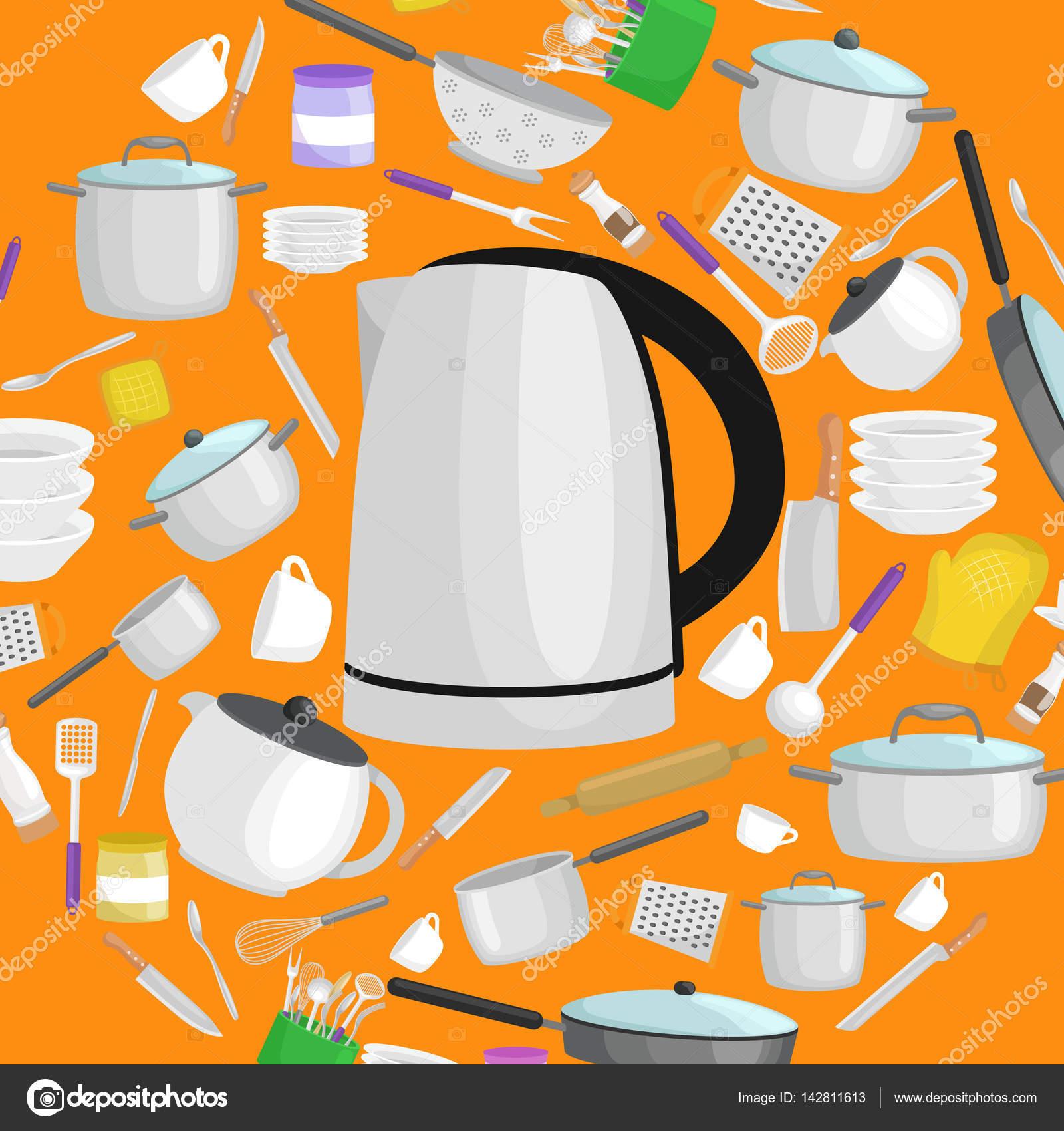 Dibujos animados juego de utensilios de cocina colecci n for Juego de utensilios de cocina precio