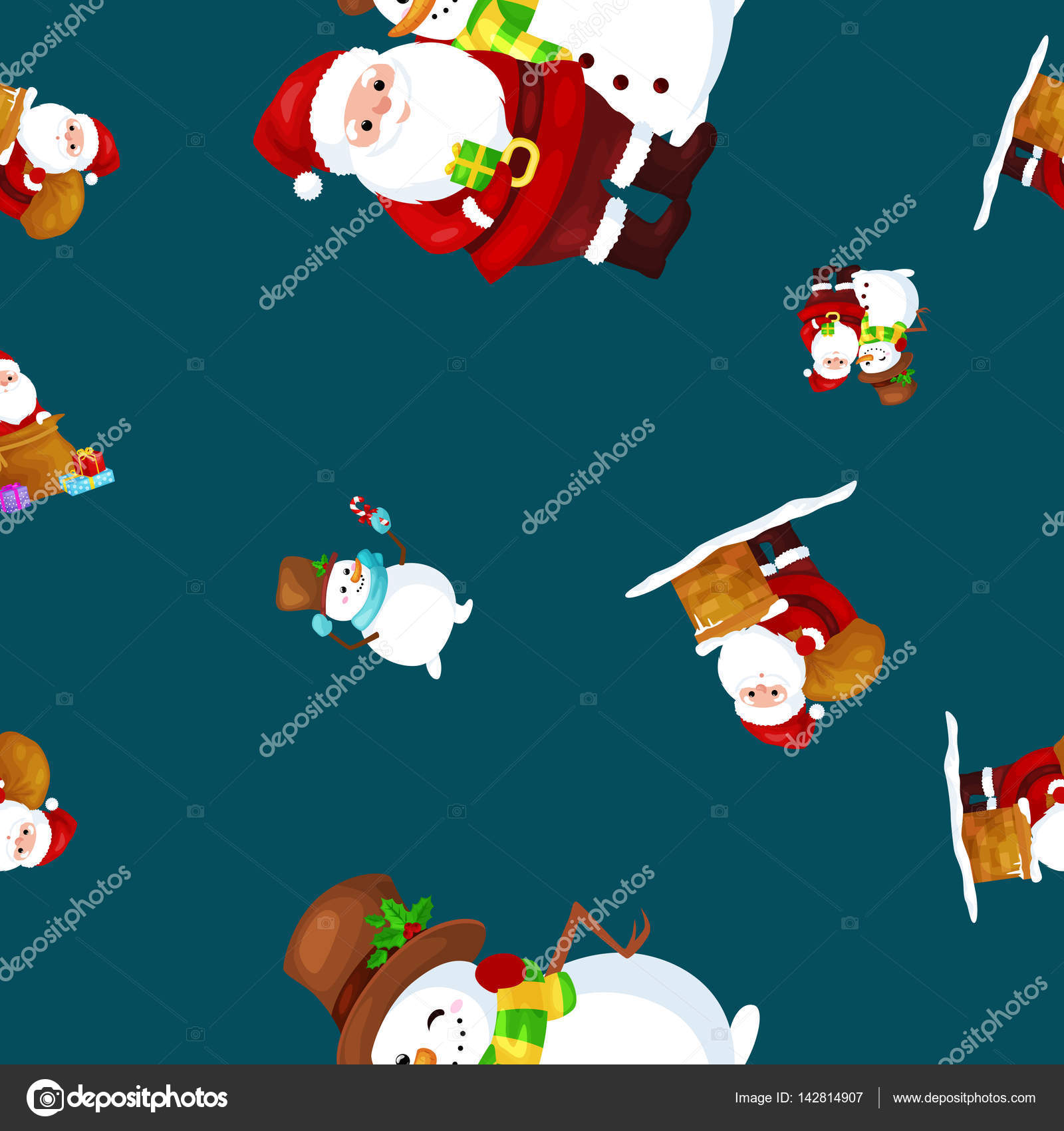 Frohe Weihnachten und Happy New Year Freunde Santa Claus in Hut ...
