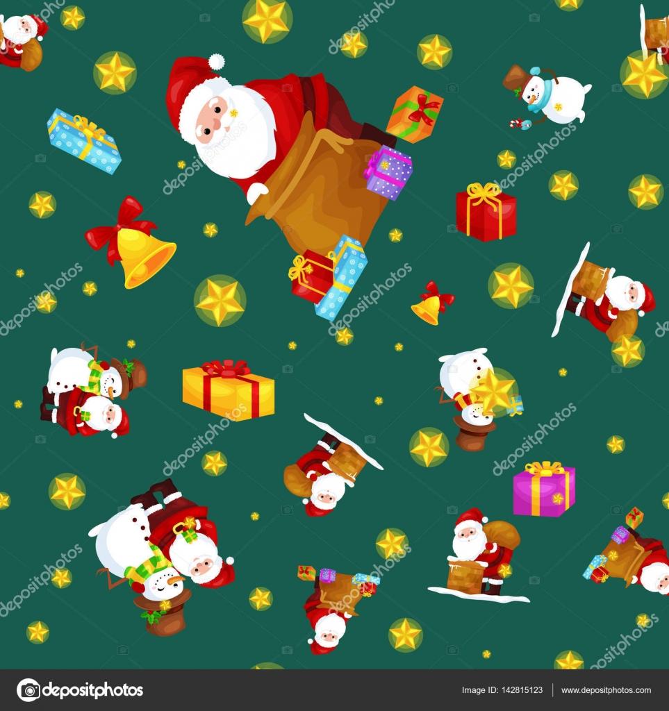 Nahtlose Muster Frohe Weihnachten und Happy New Year, Freunde der ...