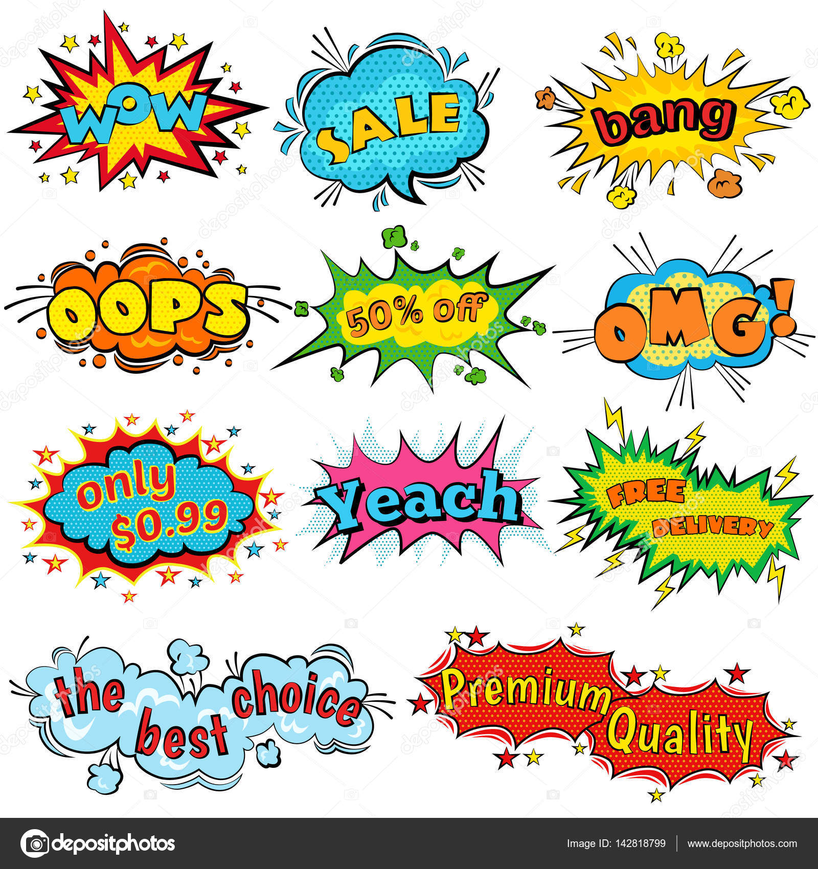 comic sound effects in pop art vector style bubble speech with word