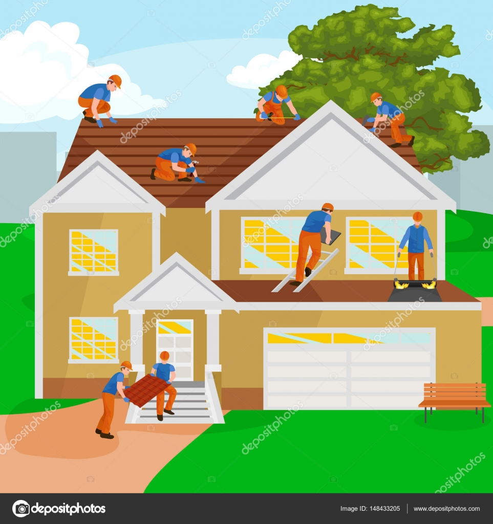 roof construction worker repair home build structure fixing rooftop tile house with labor equipment roofer men with work tools in hands outdoors - Home Building Tools