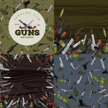 military gun set, automatic and hand weapon in magazine barrel with bullets for protection shoting or war collection, handgun for hunting equipment, ammunition background vector illustration
