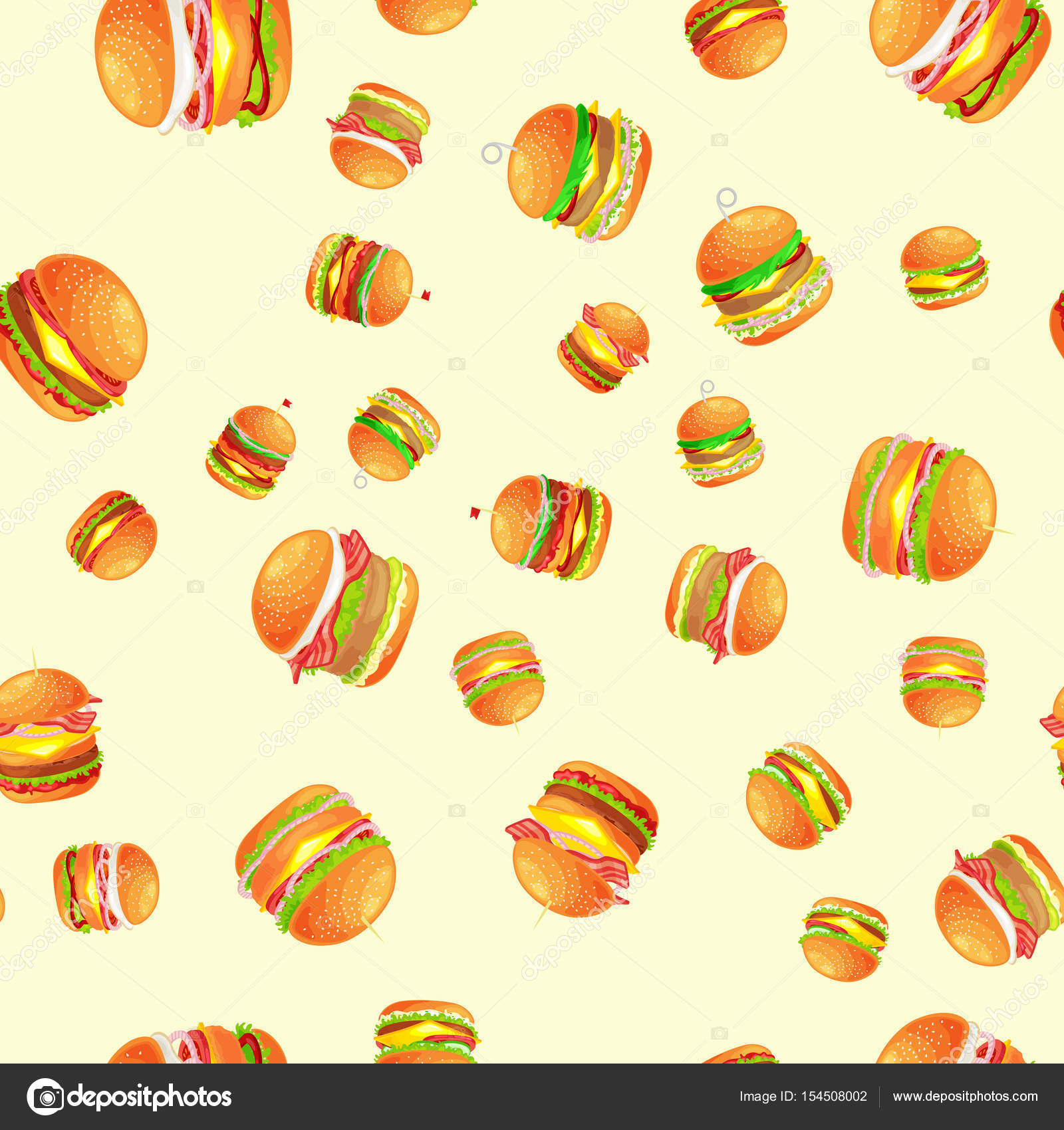 seamless pattern tasty burger grilled beef and fresh vegetables