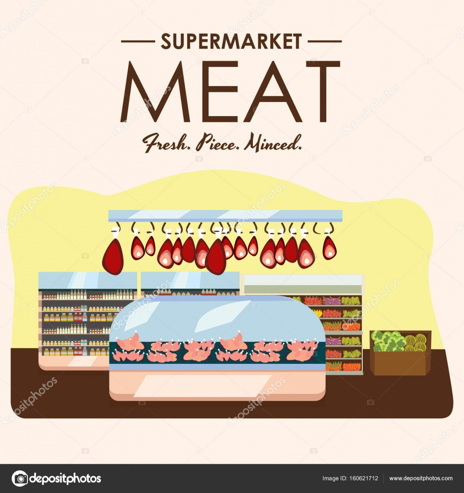 Fleischabteilung, Schweinefleisch Regal mit frischem Rindfleisch und ...