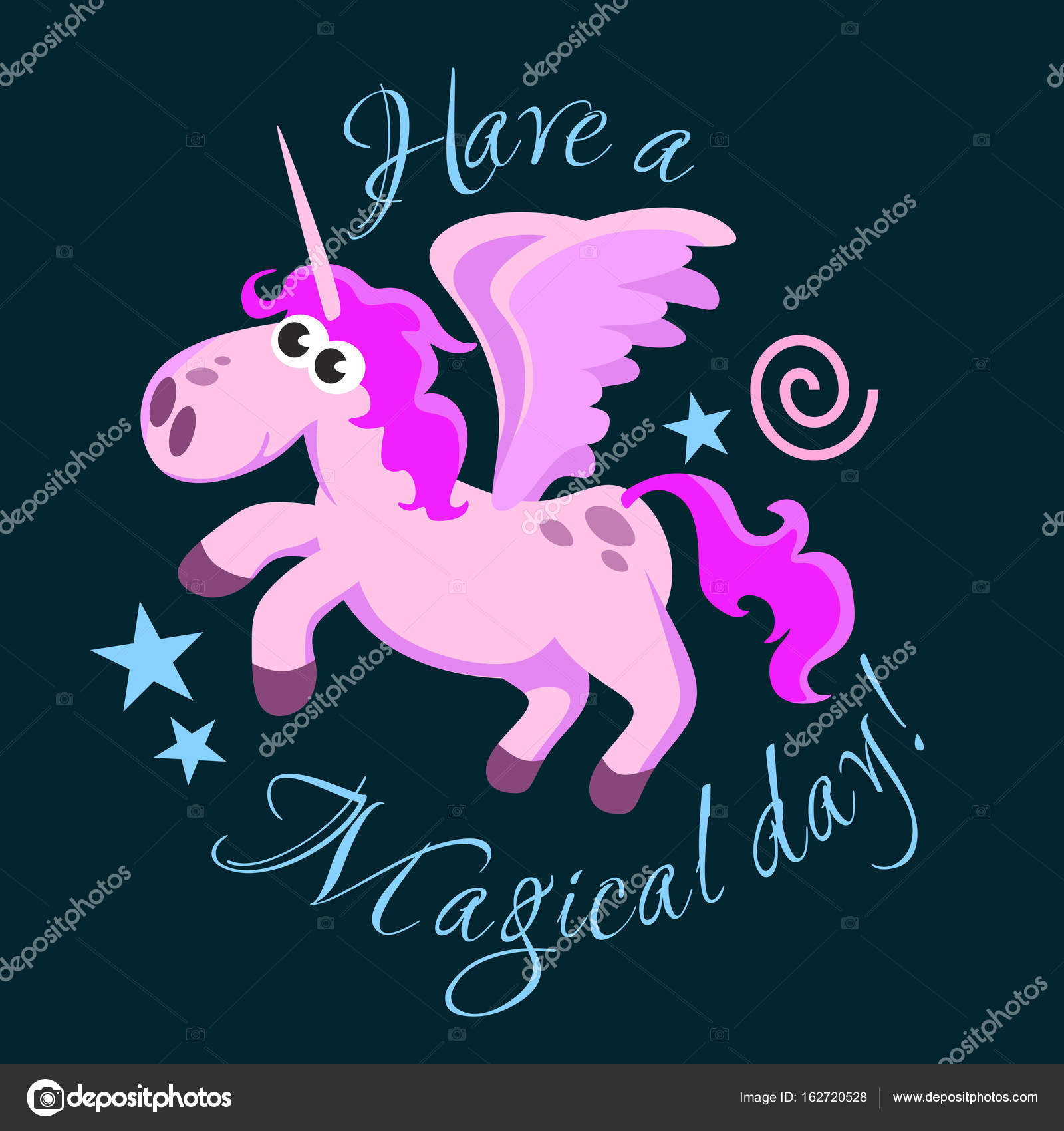 cute unicorn isolated set magic pegasus flying with wing and horn
