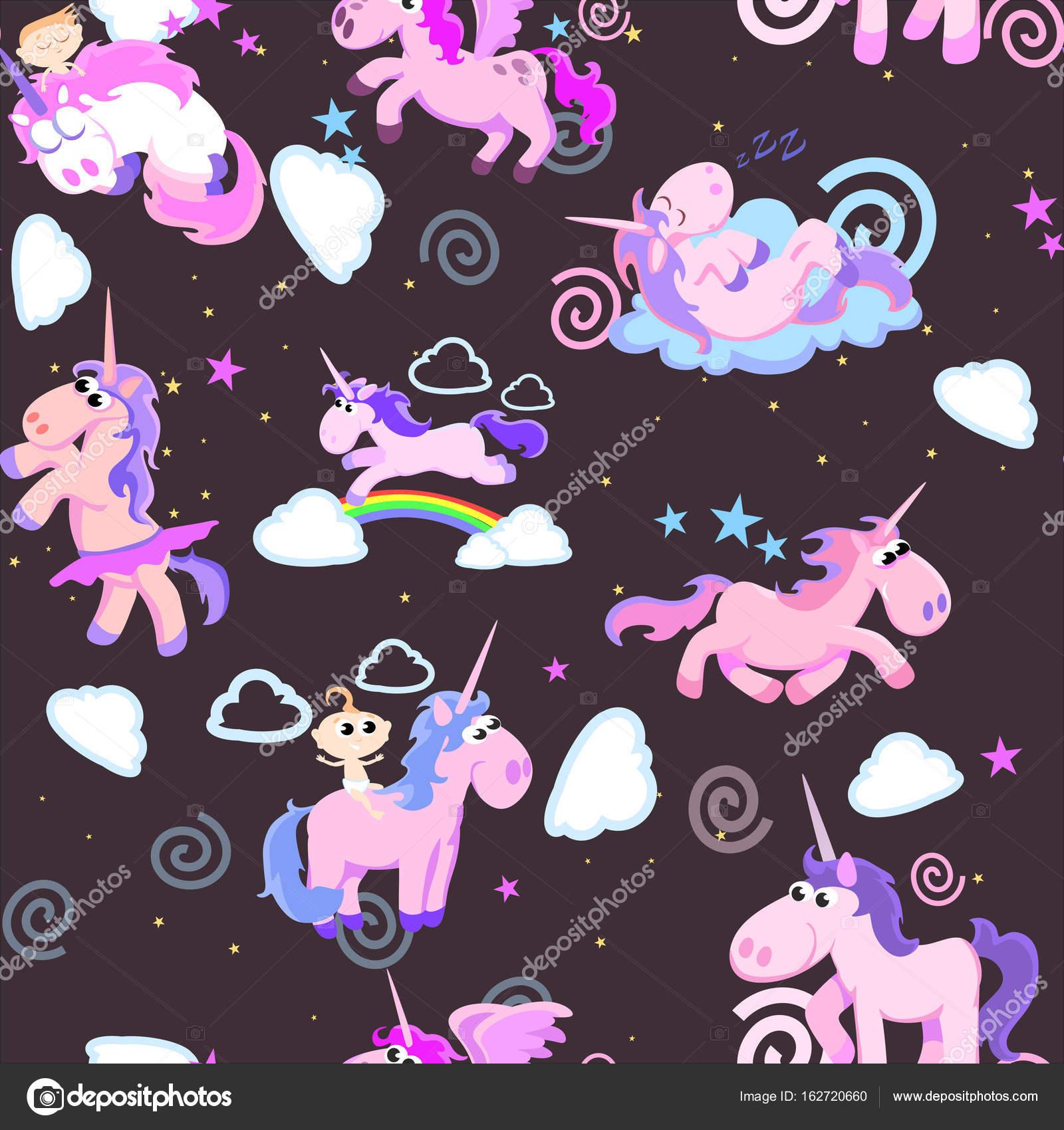 Cute Unicorn Seamless Pattern Magic Pegasus Flying With