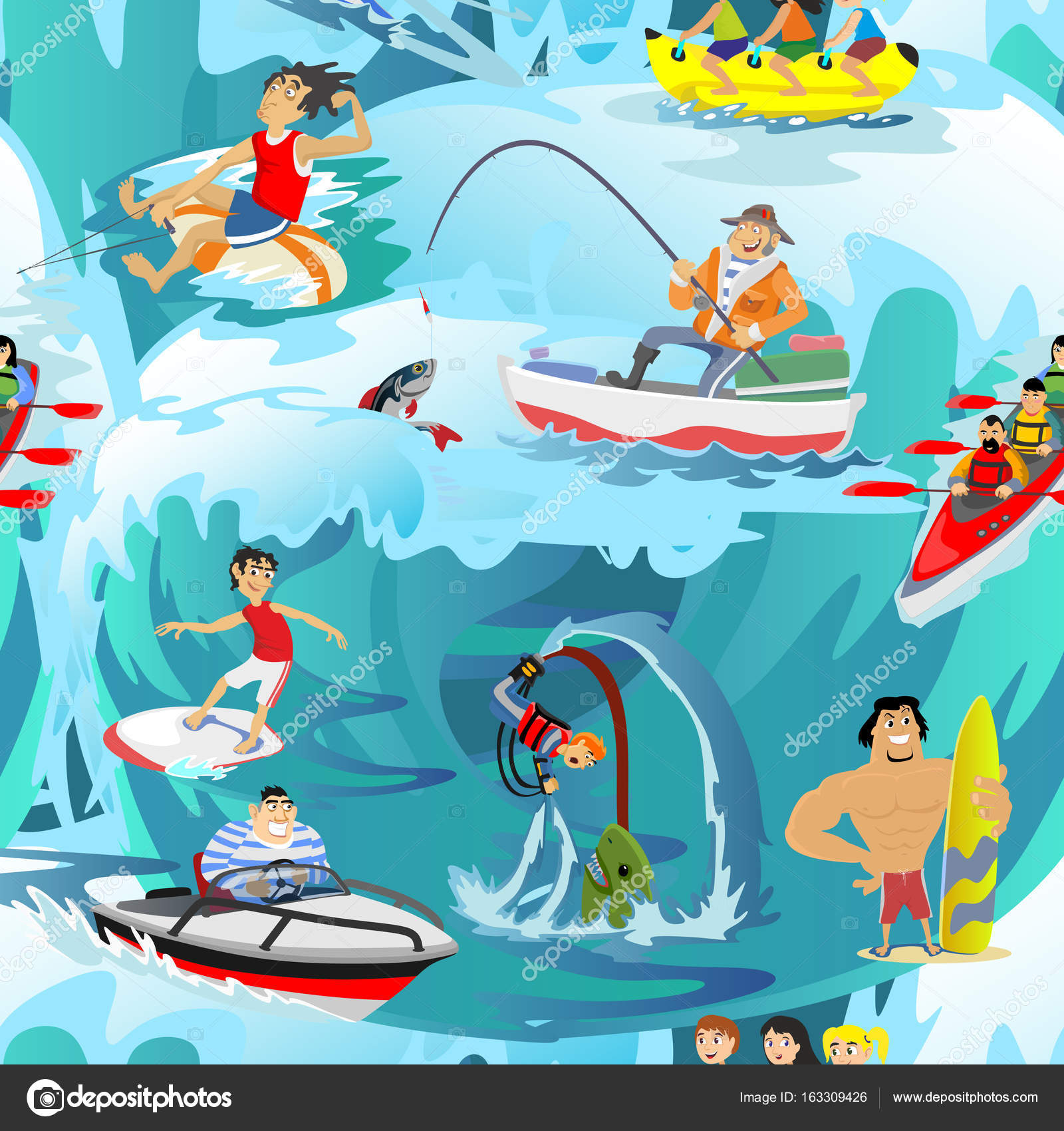 Water extreme sports seamless patterns, design elements ...