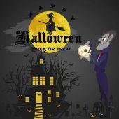 Halloween-Hintergründe mit Vampiren und ihrer Burg auf dem Friedhof, Dracula-Monster im Mantel, flache Vektorillustrationen, gut für eine Einladung zur Halloween-Party oder einen Flyer, Grußkarte