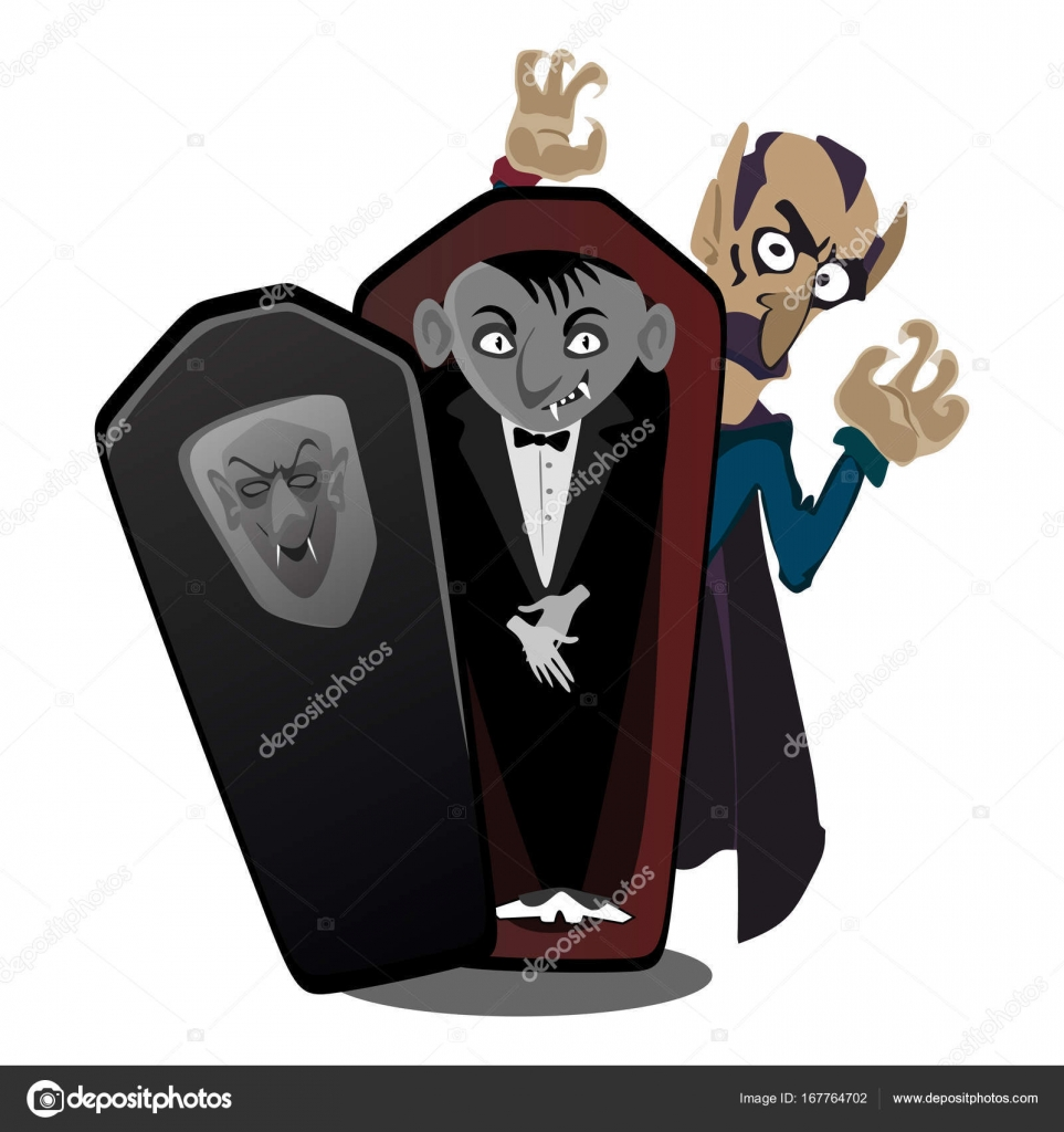 Halloween Vampire In Coffin Draculas Monster In Cloak Flat Vector Illustrations Good For Halloween Party Invitation Or Flyer Greeting Card Stock Vector C Anutaberg 167764702