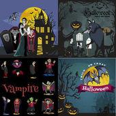 Halloween-Hintergründe mit Vampir und ihrer Burg bei Vollmond und Friedhof, Dracula-Monster im Sarg, flache Vektorillustrationen, gut für Halloween-Party-Einladung oder Flyer, Grußkarte