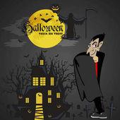 Fotografie Halloween-Hintergründe mit Vampiren und ihrer Burg auf dem Friedhof, Dracula-Monster im Mantel, flache Vektorillustrationen, gut für eine Einladung zur Halloween-Party oder einen Flyer, Grußkarte