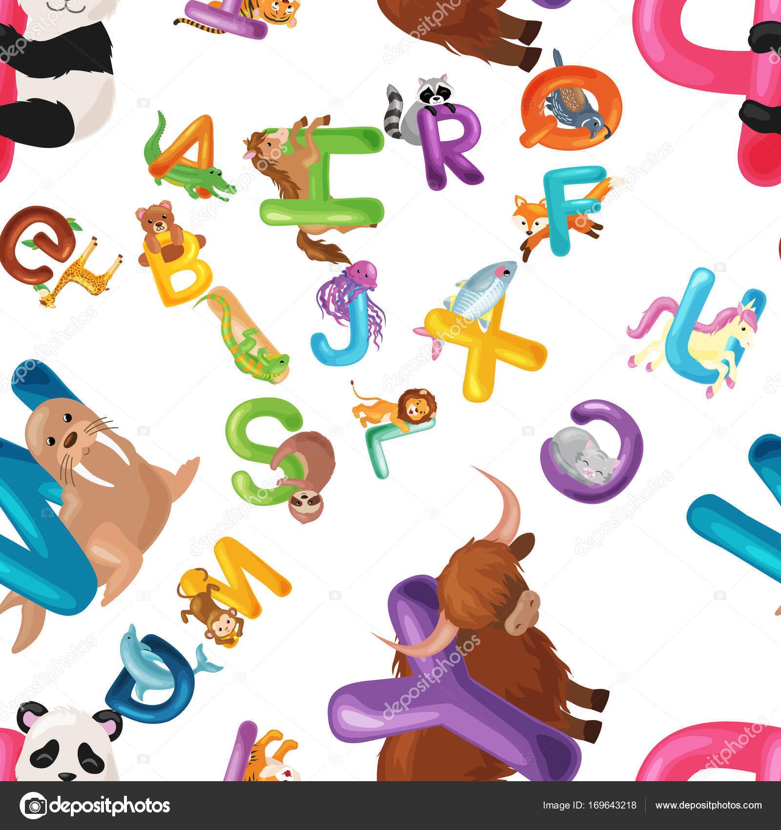 Niños animados estudiando ingles | Fondo abecedario de animales ...