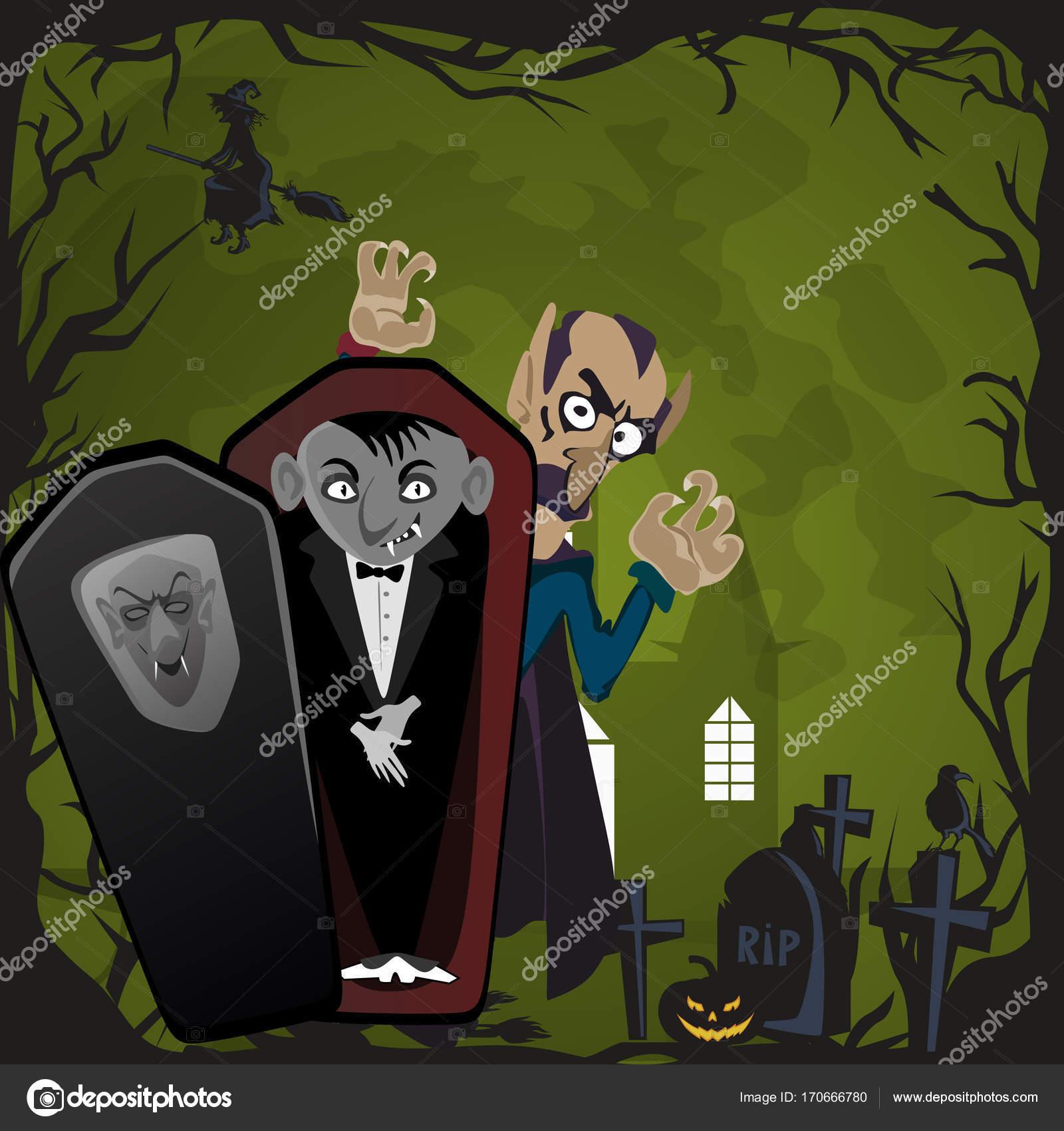 Fondos de Halloween conjunto con vampiro y su castillo bajo luna ...