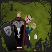 Fotografie Halloween-Hintergründe mit Vampir und ihrer Burg bei Vollmond und Friedhof, Draculas Monster in Sarg flache Vektor-Illustrationen, gut für Party-Einladung oder Flyer, Grußkarte
