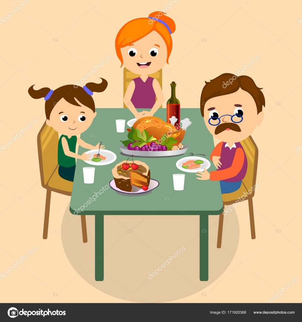 Thanksgiving Set Isolated Happy Family At The Dinner Table Eat Turkey And Drink Wine Mother Father With Childrens Smile Celebrate Together