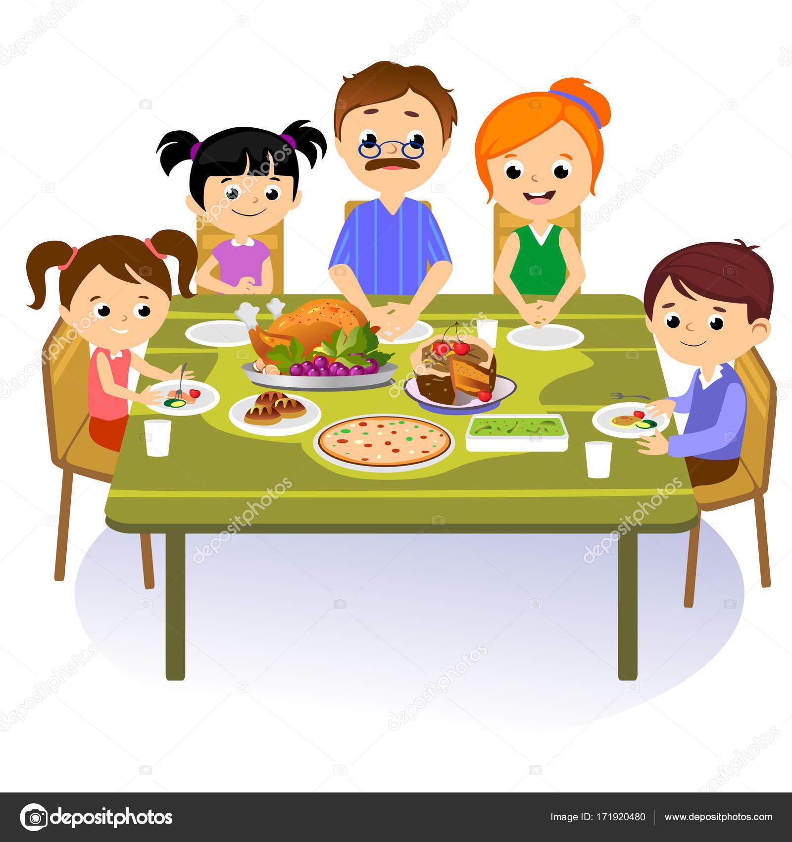 thanksgiving satz isoliert gl ckliche familie am esstisch essen t rkei trinken wein mutter. Black Bedroom Furniture Sets. Home Design Ideas