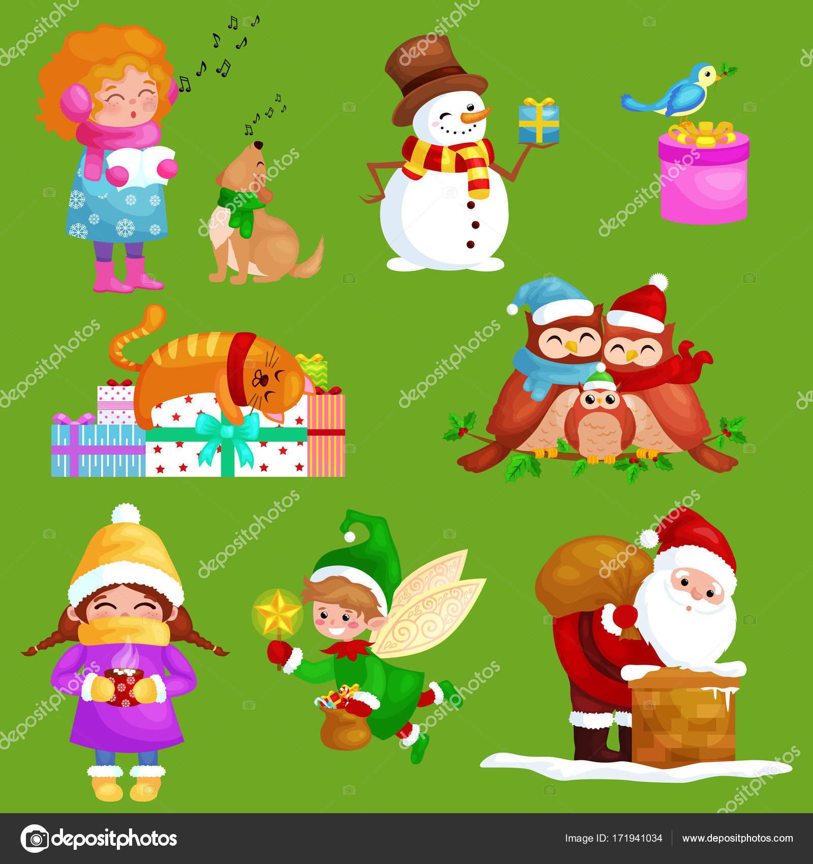 Abbildungen stellen Frohe Weihnachten Frohes neues Jahr, Mädchen ...