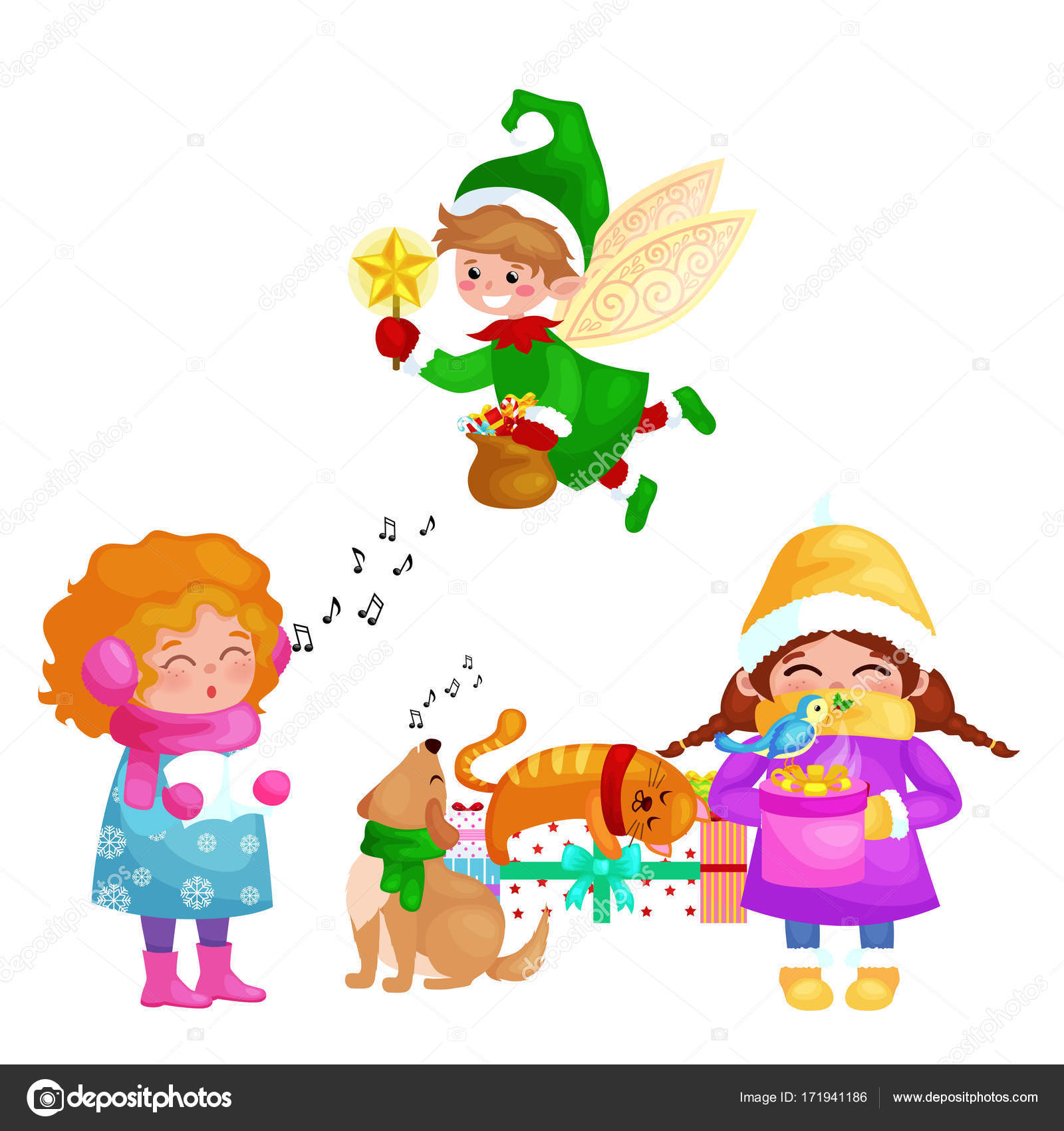 vector illustrations set merry christmas happy new year girl sing holiday songs with pets