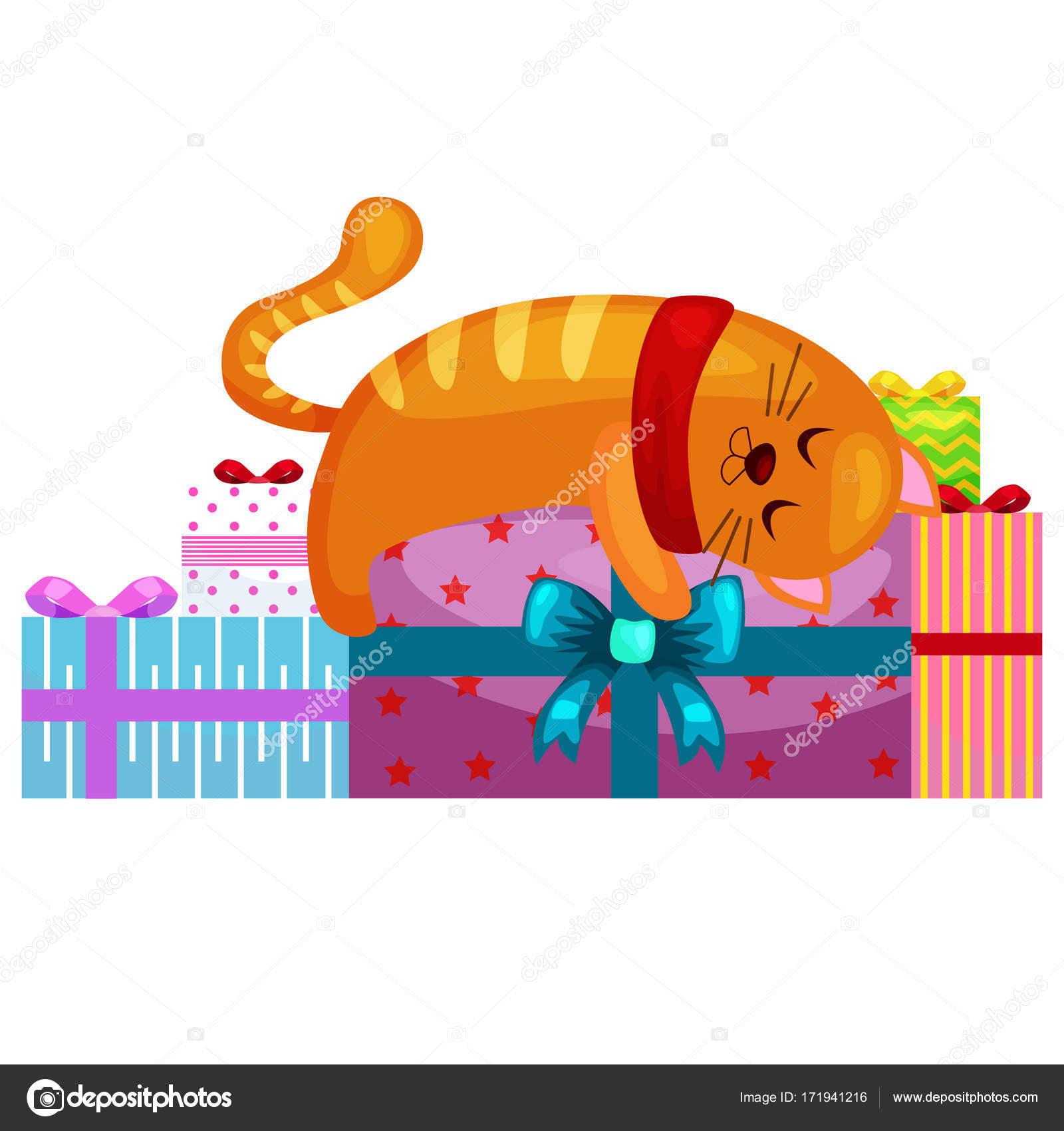 glücklich süße Katze mit Weihnachtsgeschenke, Kätzchen Geschenke Box ...
