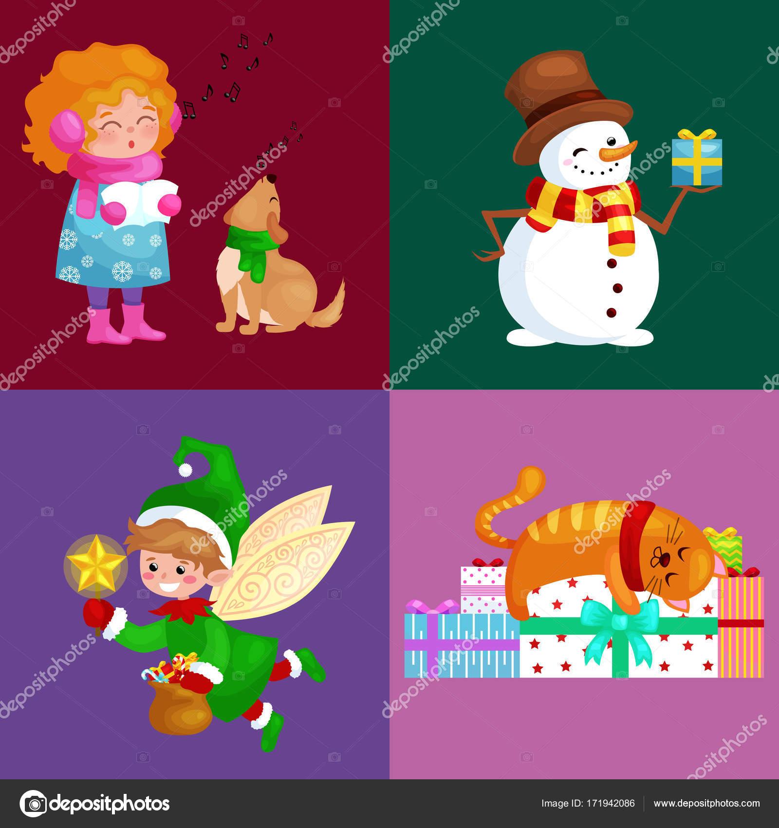 Chanson Un Joyeux Noel.Illustrations Mis Joyeux Noel Bonne Annee Fille Chanter Des