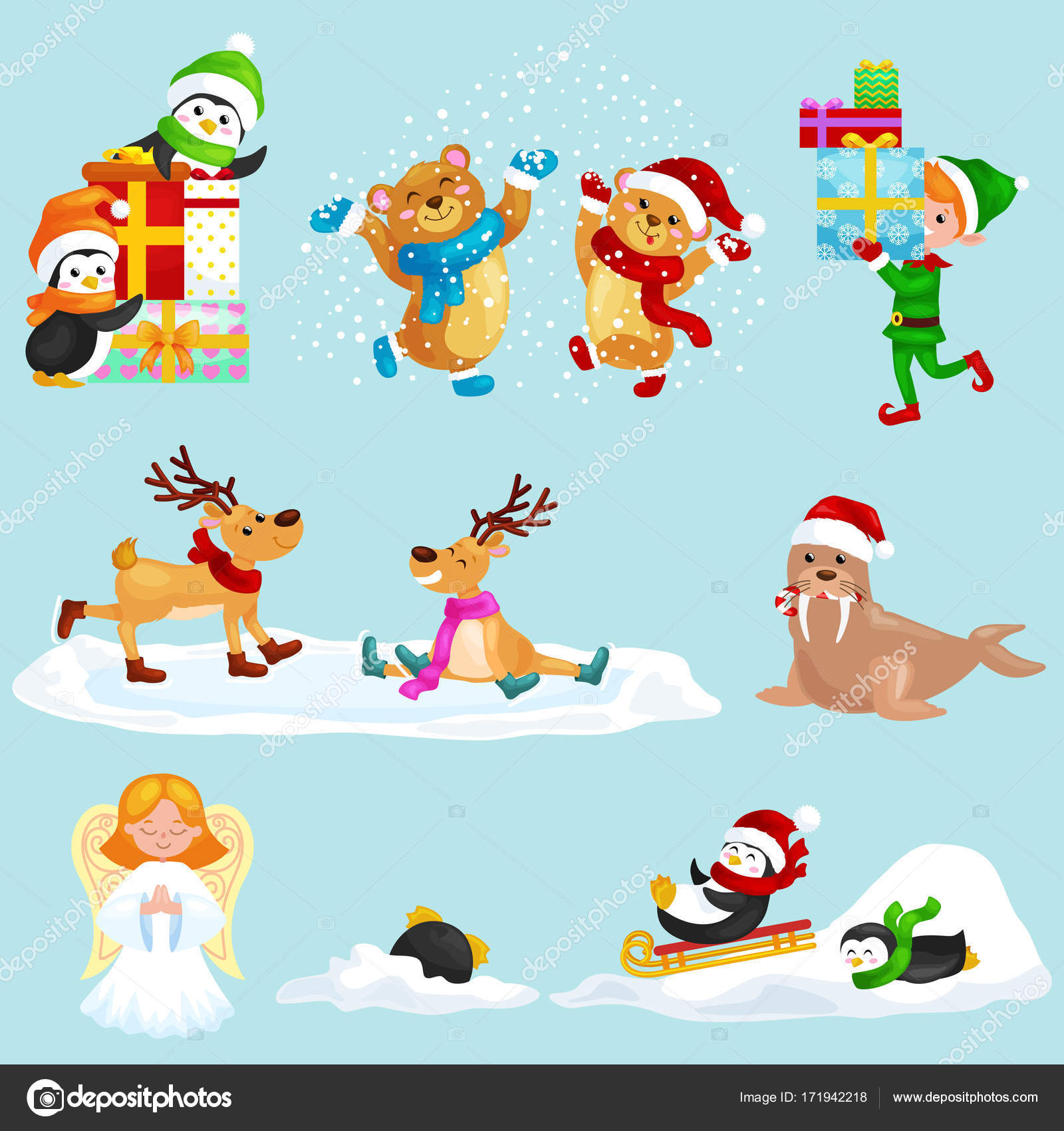 イラスト設定動物冬休日北極ペンギンが提示および丘、雪エルフ ボックス