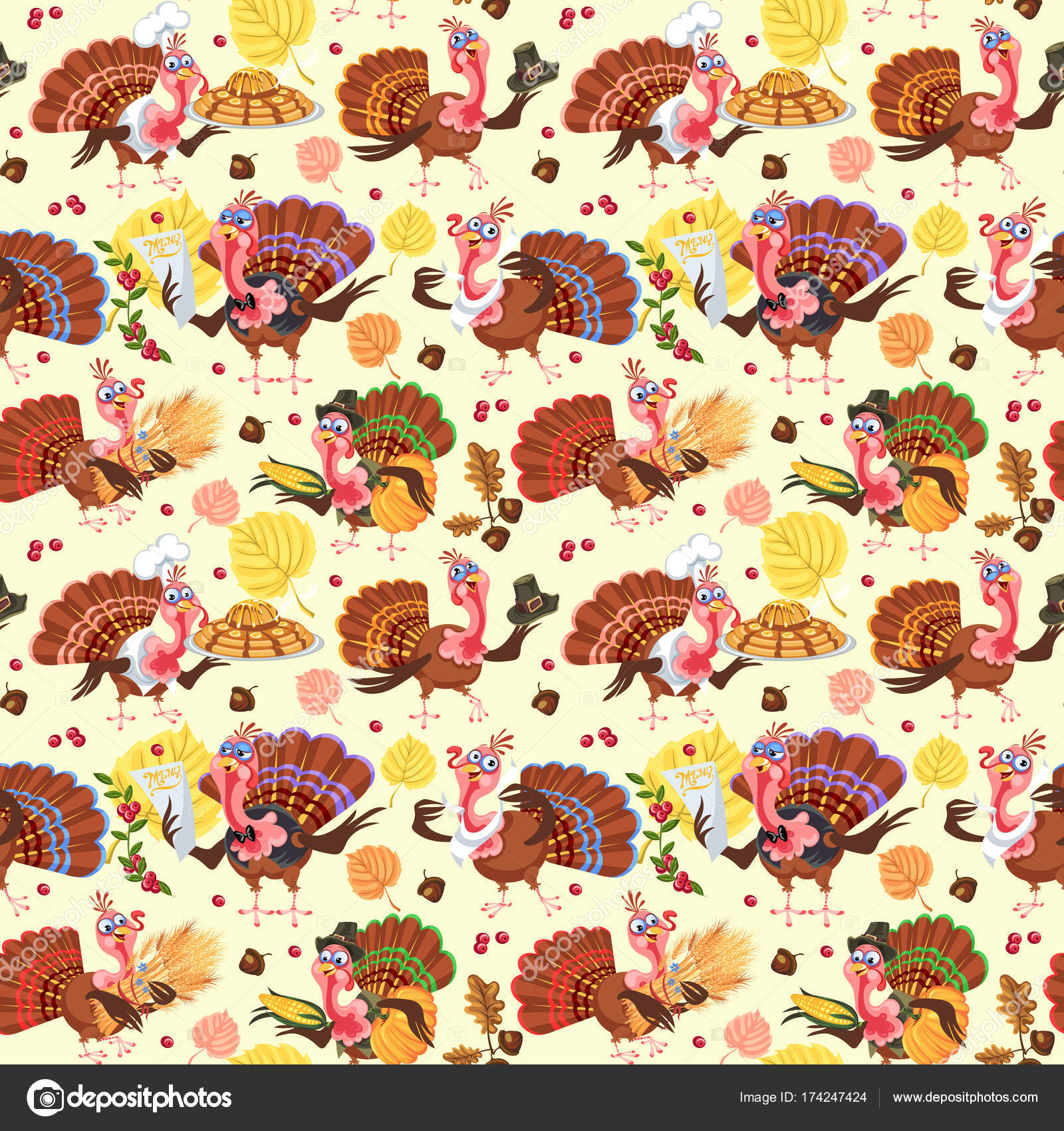 Seamless pattern cartoon thanksgiving turkey character in ...