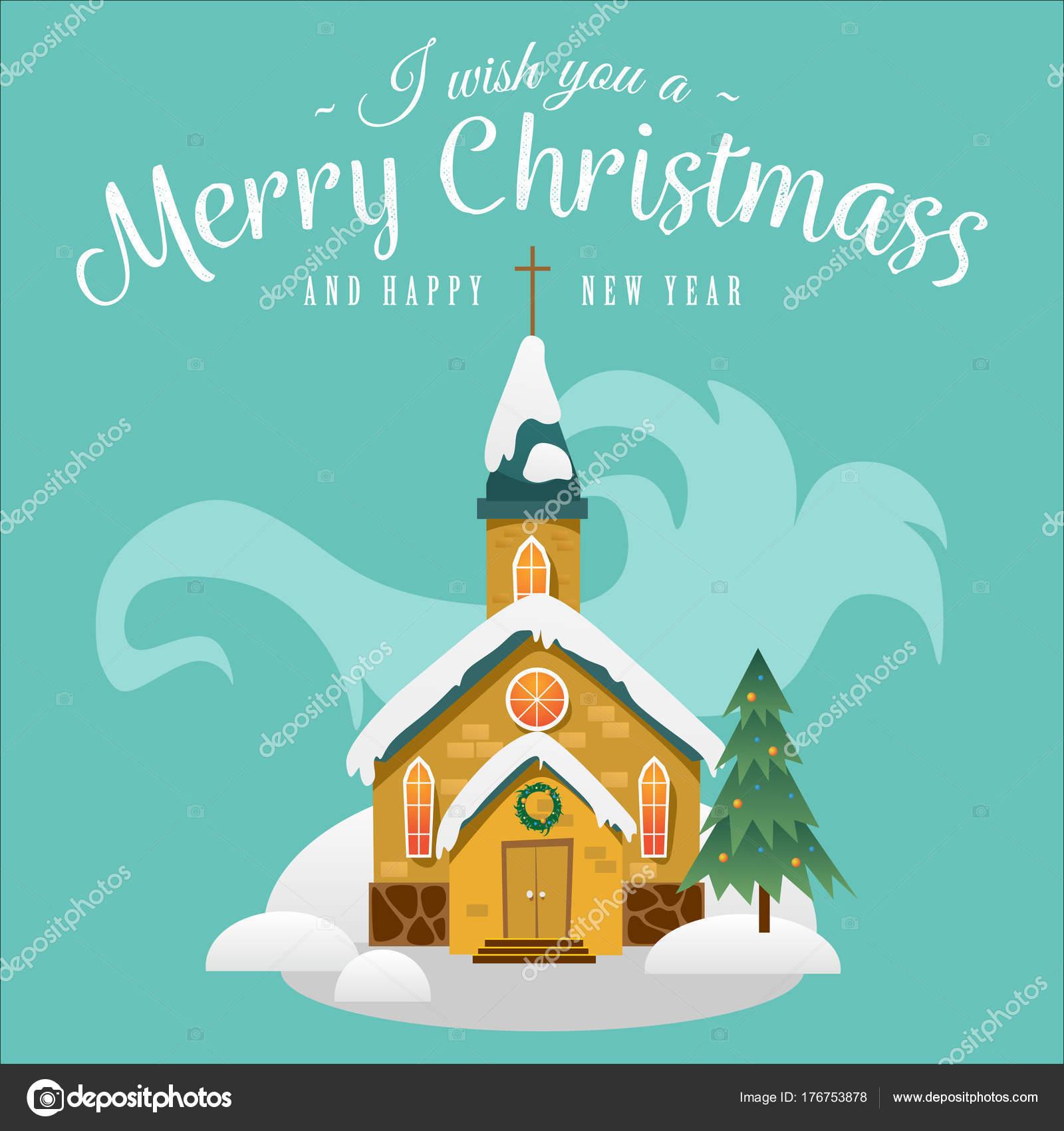 Feliz Navidad y feliz año nuevo tarjeta, iglesia y árbol verde bajo ...